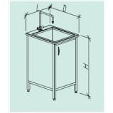 Стол-мойка одинарная 600 СМОн-М (серия ЦМ, нерж. сталь с бортиком, гл 250 мм, 600 х 600-700 х 900 мм)