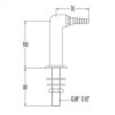 Патрубок-гусак для технического газа, угол 90, для установки в стол (mod. 3325)