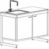 Стол-мойка одинарная 800 СМОсп-У (серия РМ, единый модуль из стеклопластика, гл. 300 мм, 800х600х900 мм)