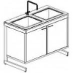 Стол-мойка двойная 1200 СМДсп-У (серия РМ, единый модуль из стеклопластика, гл. 300 мм, 1200 х 600-700 х 900 мм)