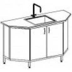 Стол-мойка одинарная к островному столу 1500 СМОсп. трпц. (серия МК, единый модуль из стеклопластика, гл. 300 мм, 1500х600х900 мм)