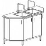 Стол-мойка двойная к островному столу 1500 СМДпп/п трпц. (серия МК, с тумбой из меламина, столешница пластик, мойки полипропилен гл 300 мм, 1500х600х900 мм)