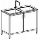 Стол-мойка двойная 1200 СМДн-М (серия ЦМ, нерж. сталь, гл 250-300 мм, 1200 х 600-700 х 900 мм)