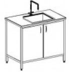 Стол-мойка одинарная 800 СМОкб-М (серия ЦМ, монолитная керамика с борт., гл. 260 мм, 800х600х900 мм)